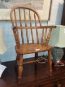 A child's elm Windsor armchair