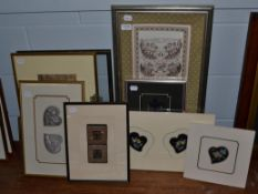 Nine various Chinese embroideries, including a fragment from a wedding robe cicra 1860 mostly framed