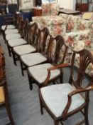 A set of eight Hepplewhite style carved mahogany dining chairs including a pair of carver armchairs
