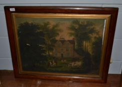 * Bradbury (19th/20th century) Cattle and poultry grazing before a country house, signed, oil on