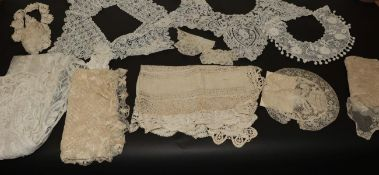 Assorted Mainly 19th Century Lace, comprising a white lace stole appliquéd with decorative tape