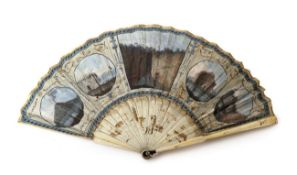 A Late 18th Century Grand Tour Fan with several Italian views and corresponding written detail,
