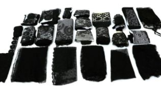 Assorted 19th/20th Century Black Lace, comprising four bonnet veils, another in Chantilly lace;