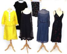 Assorted 19th Century and Later Ladies' Silk and other Under Skirts, comprising a black skirt with