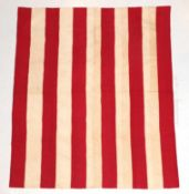 Late 19th Century Turkey Red and White Strippy Quilt, with stylish alternating rows of quilting,
