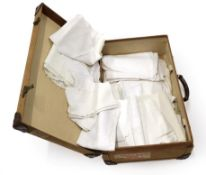Quantity of Assorted White Linens, comprising damask table cloths including an Art Nouveau