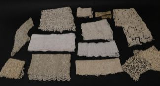 Assorted Circa 17th to 19th Century Lace, comprising an Italian lace panel, Venetian lace; 18th