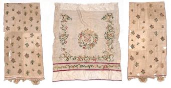 Three 19th Century Bed Drapes, comprising a curtain of cream linen, bound with plum coloured trim