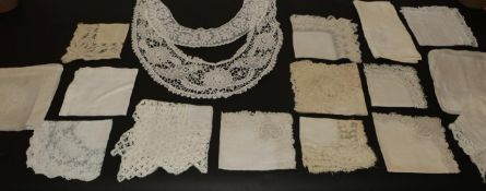 Fifteen Assorted 19th Century and Early 20th Century Handkerchiefs, in cotton and silk with lace