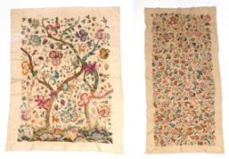 Large Circa 1940s Wool Work Panel, decorated with a central tree, with a foreground of flowers,