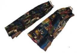 Pair of Circa 1960s Cotton Curtains 'Stones of Bath' by John Piper, a screen printed design for