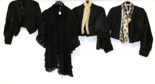 Circa Late 19th Century Ladies' Costume, comprising a black silk shoulder cape with open braid
