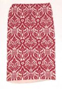 Circa 1980s Linen Union Curtain After Pugins Designs for the House of Lords, printed in red
