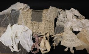 Assorted Late 19th Century Lace and Costume Accessories, comprising three bonnet veils and a lappet;