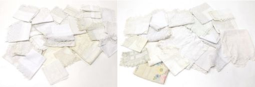 Assorted White Linen and Cotton Cloths, tray cloths with lace and crochet trims, drawn thread work