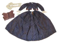 Victorian Purple Silk Brocade Two Piece Outfit with Accessories, comprising a long sleeved bodice