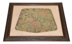 A 19th Century Wool and Silk Tapestry and Petit Point Seat Cover, decorated with pink