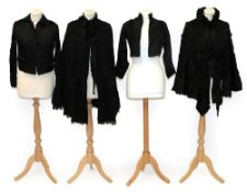 Assorted 19th Century Ladies' Costume, comprising a black silk taffeta bodice with long sleeves,