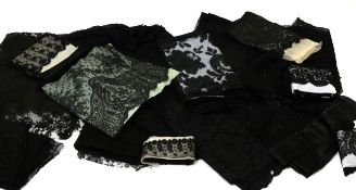 Assorted 19th/20th Century Black Lace, comprising six lace and beaded long shawls; two stoles; large