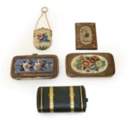 A Group of Decorative Victorian Cases, comprising a leather mounted case with gilt metal hinged