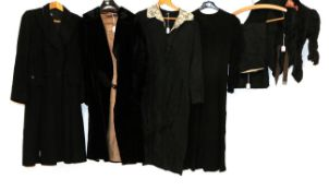 Late 19th/Early 20th Century Ladies' Clothing, comprising a black silk bodice with buttons to the