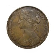 Victoria, 1860 Penny. ''Bun head'' type. Obv: 1, Laureate and draped bust left, hair tied in a