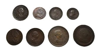 George III, A Collection of 8 x Copper Coins consisting of: 1797 ''cartwheel'' penny. Soho Mint,