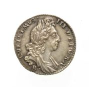 William III, 1697 Bristol Mint Sixpence. Obv: Laureate and draped bust right, B below for Bristol