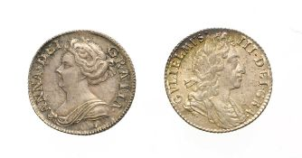 William III, 1697 Sixpence. Obv: Laureate and draped bust right. Rev: Cruciform shields. S. 3537