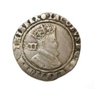 James I, 1605 - 1606 Shilling. 5.68g, 29.7mm, 11h. Second coinage coinage, mintmark rose. Obv: