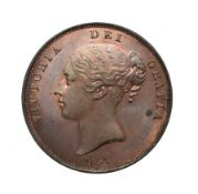 Victoria, 1854 Penny. Obv: Young head left, W.W. on truncation, 1854 below. Rev: Britannia seated