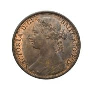 Victoria, 1875 Penny. ''Bun head'' type. Obv:8, laureate and draped bust left, hair tied in a bun.