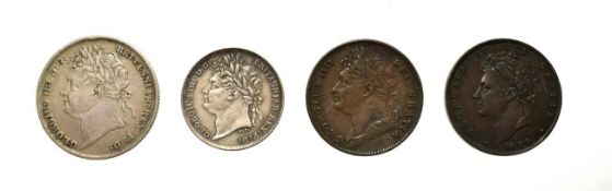 George IV, A Group of 4 x Coins consisting of: 1824 shilling. Obv: Laureate head of George IV
