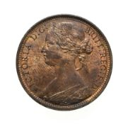 Victoria, 1869 Penny. ''Bun head'' type. Obv: 6, Laureate and draped bust left, hair tied in a