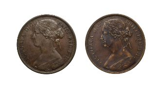 Victoria, 2 x Pennies, 1870, 1872. ''Bun head'' type. Obv: 6, Laureate and draped bust left, hair