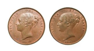 Victoria, 2 x Young Head Pennies, 1846, 1847. Obvs: Young head left, W.W. on truncation, dates