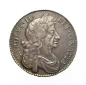 Charles II 1679 Halfcrown. Obv: Fourth laureate and draped bust right. Rev: Cruciform shields,