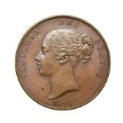 Victoria, 1844 Penny. Obv: Young head left, W.W. on truncation, 1844 below. Rev: Britannia seated