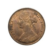 Victoria, 1866 Penny. ''Bun head'' type. Obv: 6, Laureate and draped bust left, hair tied in a