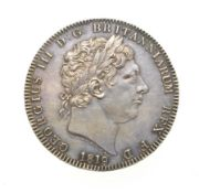 George III, 1819 Crown. Obv: Laureate head right, PISTRUCCI and date below truncation. Rev: St.