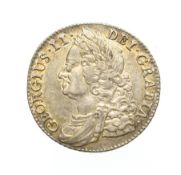 George II, 1743 Shilling. Obv: Laureate and draped bust of George II left. Rev: Cruciform shields,