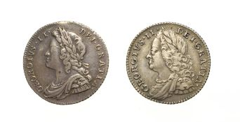 George II, 2 x Silver Sixpences consisting of: 1728 sixpence. Obv: Young laureate and draped bust of