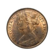 Victoria, 1865 Penny. ''Bun head'' type. Obv: 6, Laureate and draped bust left, hair tied in a