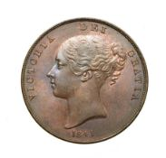 Victoria, 1841 Penny. Obv: Young head left, W.W. on truncation, 1841 below. Rev: Britannia seated