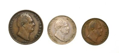 William IV, A Collection of 3 x Coins consisting of: 1834 shilling. Obv: Bare head of William IV