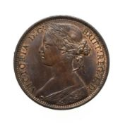 Victoria, 1868 Penny. ''Bun head'' type. Obv: 6, Laureate and draped bust left, hair tied in a