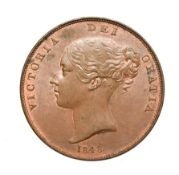 Victoria, 1848 Penny. Obv: Young head left, W.W. on truncation, 1848 below. Rev: Britannia seated