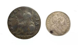 William III, 1696 Sixpence. Obv: Laureate and draped bust right. Rev: Cruciform shields. S. 3520.