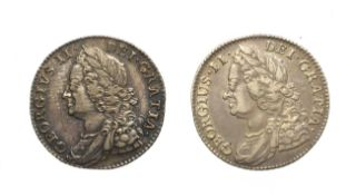 2 x George II, Shillings, 1743, 1750. Obv: Laureate and draped bust left. Rev: Cruciform shields. S.