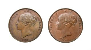 Victoria, 2 x Young Head Pennies, 1858, 1858/7. Obv: Young head left, W.W. on truncation, dates